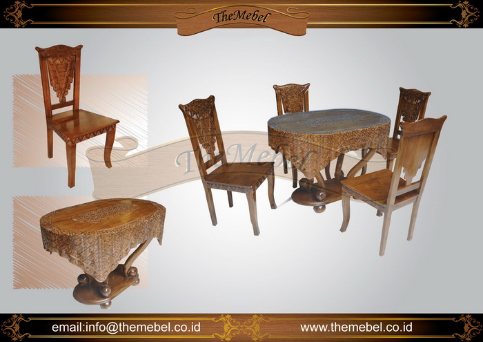 meja makan ukiran minimalis