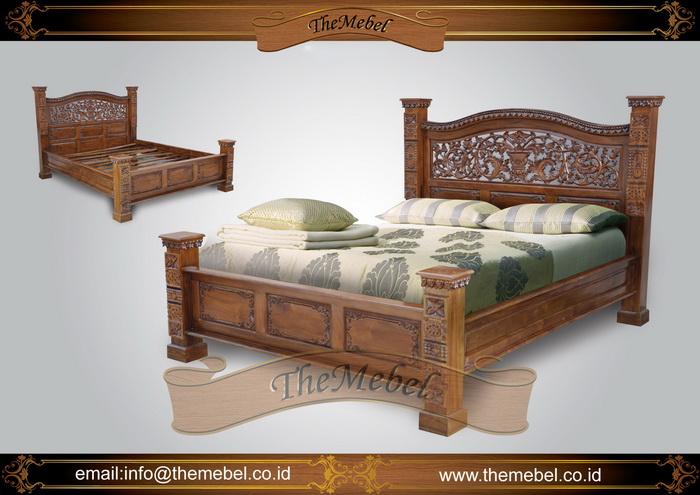 tempat tidur kayu jati ukir-001