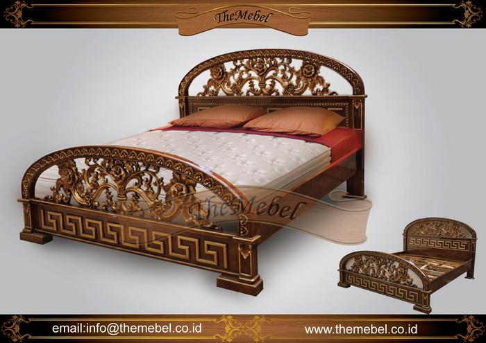 tempat tidur kayu jati ukir-002