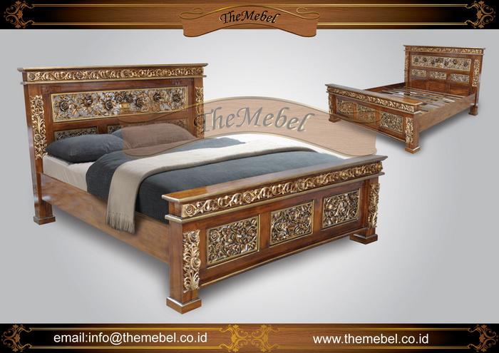 tempat tidur kayu jati ukir-003