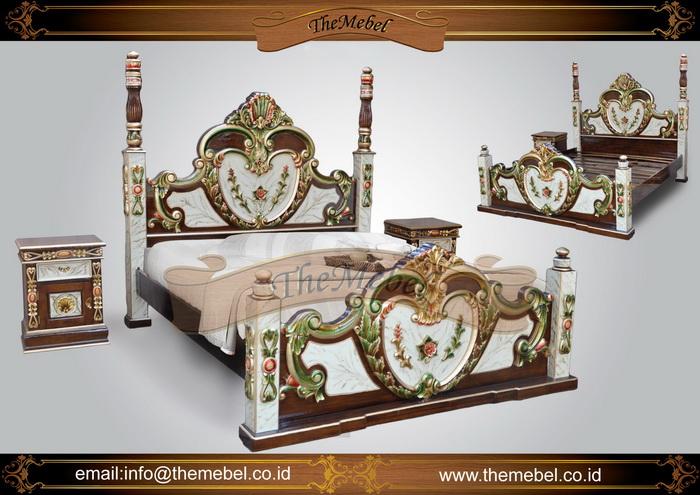 tempat tidur jati warna putih-004