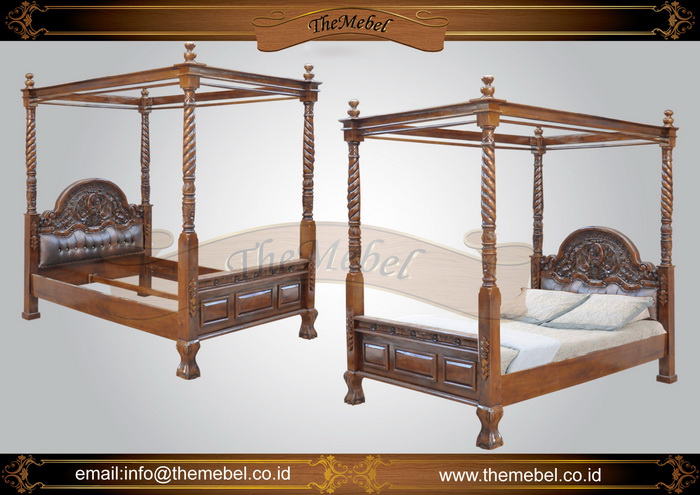 tempat tidur kanopi jati ukir-010
